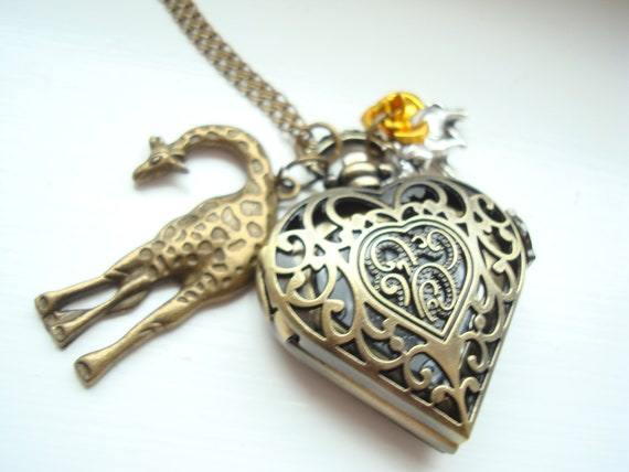 Valentines Giraffe and Elephant Antique Gold Heart Pocket Watch Necklace