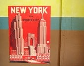 SALE -- Vintage Style New York Poster Decorative Wrap and Craft Paper by Cavallini
