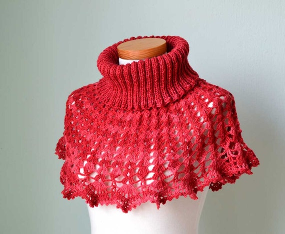 Red  crochet knitted capelet poncho cowl H805