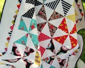 Baby Quilt Pinwheels and Prairie Points Baby Boy Sock Monkey Quilt