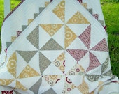 Baby Quilt Pinwheels and Prairie Points Baby Gift Contemporary Red Grey Yellow