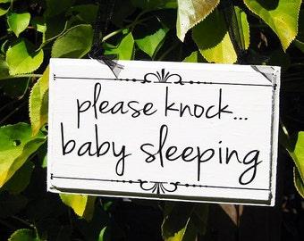 Please Knock Baby Sleeping Wood Sign, Horizontal...