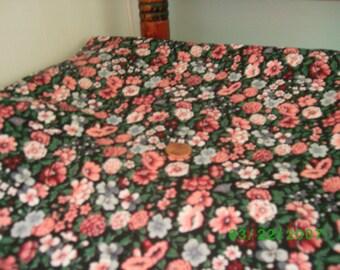 Vintage Cotton Quilt Fabric Pink & Rose Flowers on Black