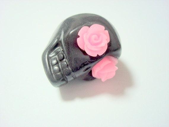 Gigantic Black Howlite Skull Bead or Pendant  with Pink Roses in Eyes
