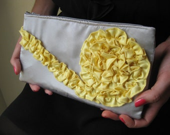 Ruffle Clutch in Gray and Yellow Satin, bridesmaids purse, bridal bag, prom clutch, spring, summer wedding clutch