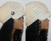 Unisex Warm Crochet Chunky Wool Reversible Hat Cap Coconut Button in Fleece