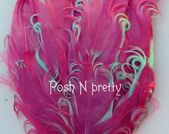 2 pieces Premium 2 PLY HotPink/Aqua Nagorie Feather pad