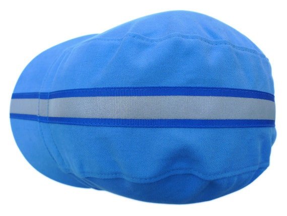 Blue Cycling Cap with Reflective Ribbon