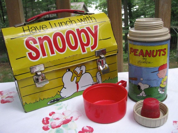 Treasury Item - Vintage 1950s Snoopy Lunch Box and Thermos