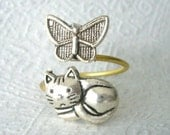 cat ring with a butterfly wrap style, adjustable ring, animal ring, silver ring, statement ring