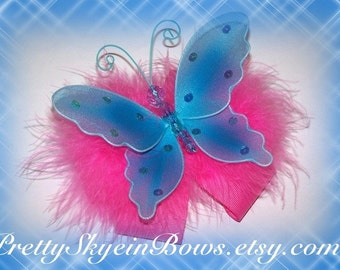 Large Boutique Butterfly Hair Bow Clip in Hot Pink and Turquoise with Marabou