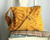 Handbag Purse Fall Fashion Honey Gold in Structured Citrine Yellow Chevron Pleats