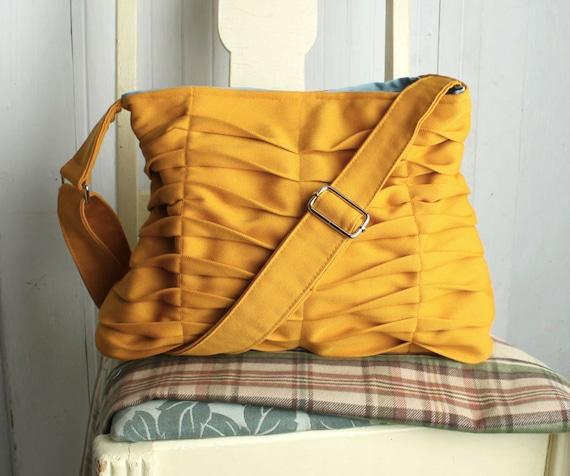 Handbag Purse Fall Fashion Honey Gold in Structured Citrine Yellow Chevron Pleats