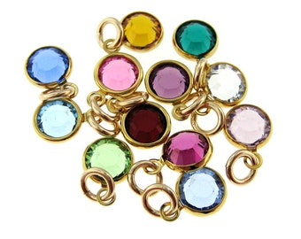 ADD A BIRTHSTONE - Round Swarovski Crystal - 14K Gold Filled