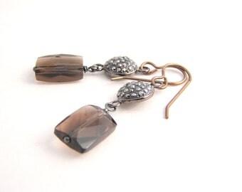 Black Pave And Smokey Quartz Dangle Earrings, Black, Brown, Modern Earrings