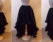 100% Cotton Black - High Low Skirt with ruffle by LoriAnn