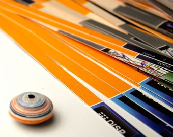 "13C Orange Black and Grey 100  1/2"" Strips of your choice Spacer bead paper for making paper beads"