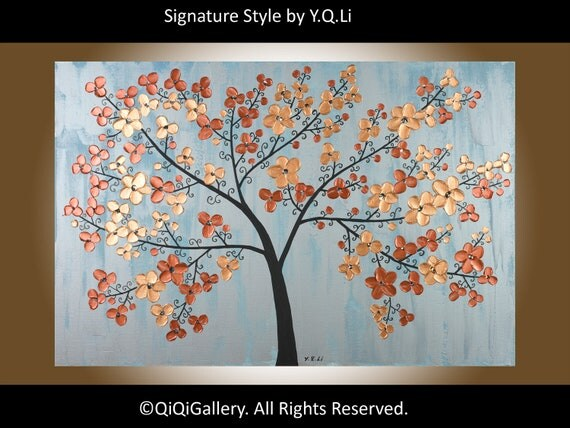 """Original Abstract Painting  Heavy Texture Palette Knife Metallic art Tree Wall Decor Cherry Blossom """"Elegance"""" by QIQIGALLERY"""