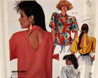 Vintage 80s Sewing Pattern, Misses' Shirts, Size Small Petite