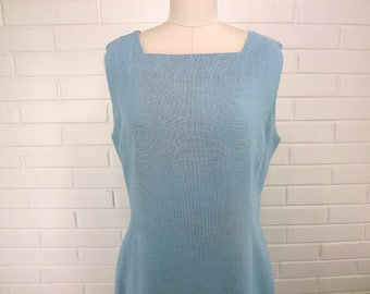 Vintage 60's Dress, Irish Linen, Size 16, Baby Blue, Sleeveless