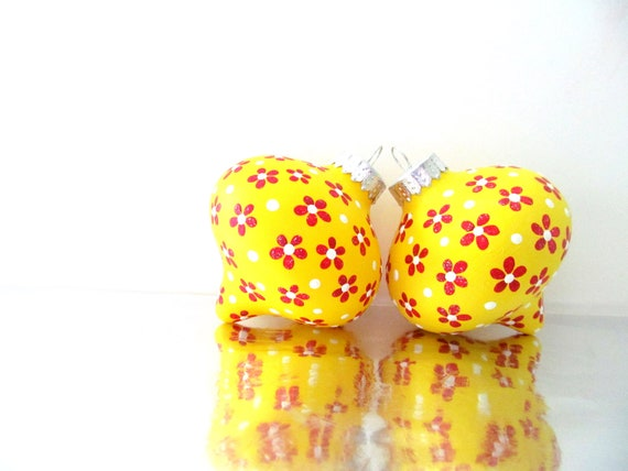 Flowers: Yellow and Red Christmas Tree Ornaments Two Hand painted Glass Ornaments