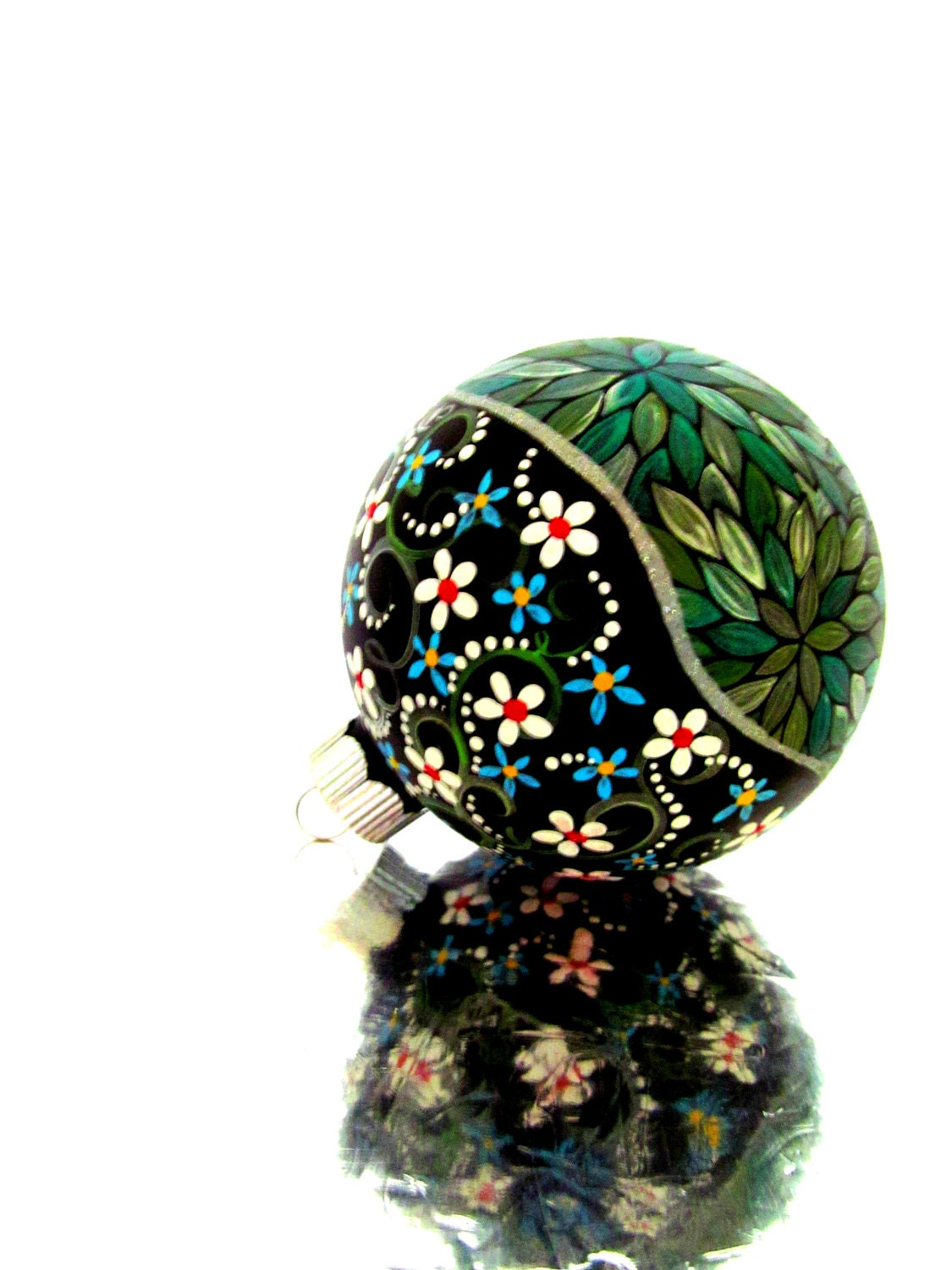 Metallic Green: Hand painted Christmas Ornament Green and