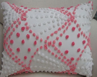 Vintage Chenille Pillow French Pink and White Cottage Shabby Chic 14x18 Insert