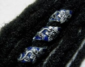 Dread Bead Silver Flowers on Midnight Blue Leaves Coil You Choose Hole Size