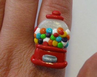 Gumball Machine Ring, Miniature food Jewelry, Polymer clay Ring, Candy