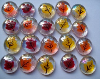Hand painted glass gems party favors thanksgiving fall leaves leaf   set of 50