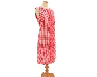 Vintage 1960s Shift Dress Red Gingham Tuxedo Ruffle Sleeveless Summer Frock size Large