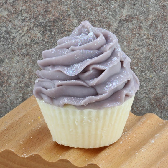 Blueberry Lemon Verbena Frosted Cupcake Soap - Cold Process Bakery Soap