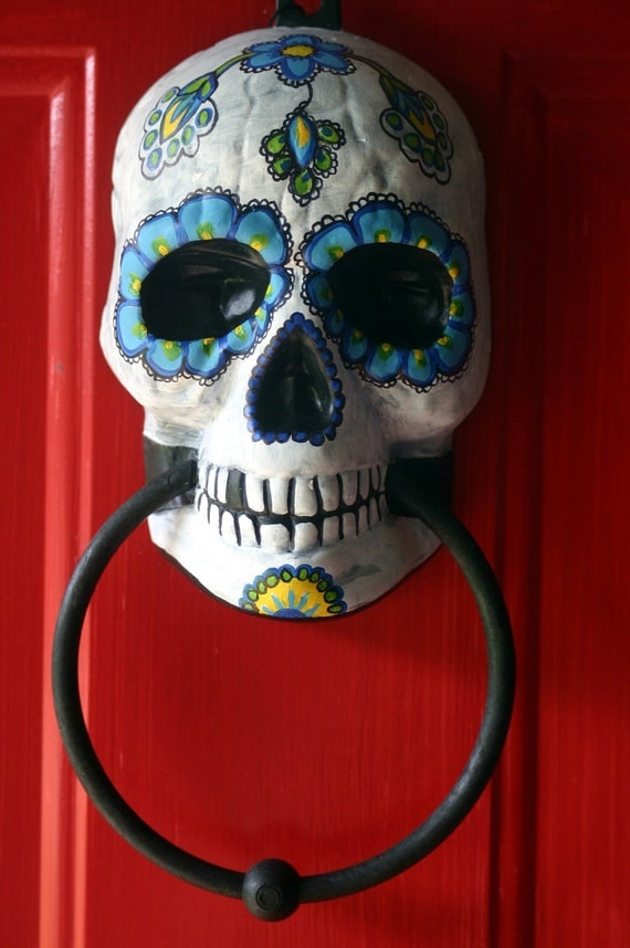 Day Of The Dead Hand Tattoo: Sugar Skull Day Of The Dead Doorknocker Hand Painted