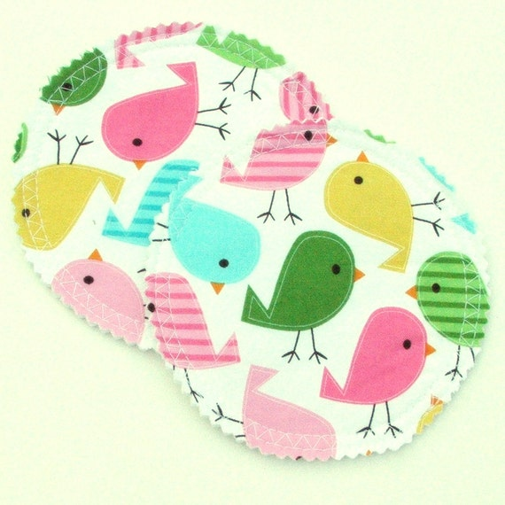Nursing Pad Set in Bamboo and Organic Cotton with Waterproof PUL in Pastel Chickadees woven cotton print