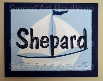 Navy light blue white sailboat boat CUSTOM canvas name sign wall hanging decor HAND PAINTED boy painting art nautical ship