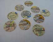 London locations - map circle stickers or envelope seals OOAK