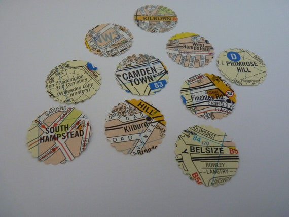 London locations - map circle stickers or envelope seals OOAK set of 10