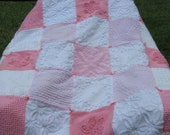 Sweet Vintage Chenille Quilt Pink and White