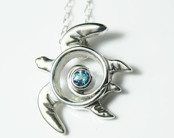 Turtle Necklace Blue Topaz Pendant - Sea Turtle Necklace - Blue Topaz Necklace - Honu Jewelry - Spiral Pendant - Gift for Her - Handcrafted