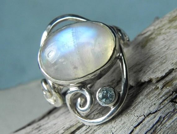 Moonstone Silver Ring - Rainbow Moonstone Swirl Ring - Unique Moonstone Blue Topaz Ring - Mermaid Dreams - Something Blue