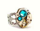 Steampunk Ring - Beautiful Clockwork Jewelry Design & Aqua Blue Zircon Swarovski Crystals -  PROMPTLY SHIPPED - Steampunk Jewelry