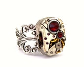 Steampunk RIng - Beautiful Vintage Watch Movement Ring & Siam Red Swarovski Crystals PROMPTLY SHIPPED by London Particulars