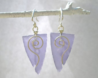 purple triangle seaglass earrings