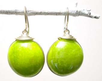 Chartreuse green glass earrings with silver