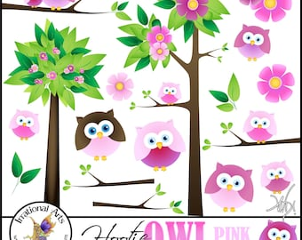 Hootie OWL Pink Set 1 digital graphics clip art - 18 png files with pink owls, trees branches, and flowers { Instant Download }
