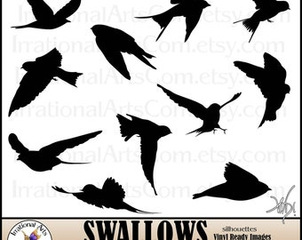 Swallow Sillhouettes - Eps Vinyl-Ready Vector Images - 11 eps and 11 png Clipart Graphics and Commercial License {Instant Download}