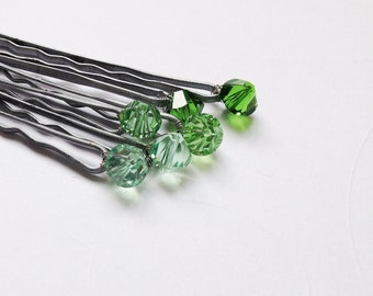 Hair Pins - Green Ombre (3 pairs / set of 6 bobby pins) Earthy Green Hues