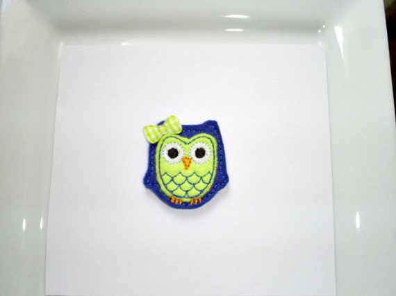 Felt Embroidered Appliques - Royal Blue and Lime Owls - Set of 4
