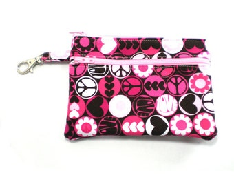 Larger Zippered Wallet Change Purse Gadget Case  Pink and Brown Peace Love and Flower Power