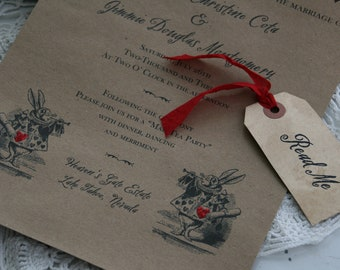Alice in Wonderland WEDDING INVITATION -  Scroll Wedding Invitation - Vintage, Unique - Boxed